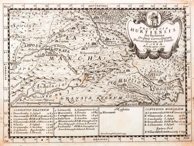 Provinciarum et conventuum fratrum discalceatorum [...] B. Virginis Mariae de Monte Carmelo congregationis Hispaniae chorographica, topographica et chronologica descriptio, Roma, c. 1739