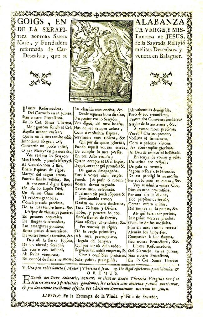 Teresa goigs 1790c Lleida Escuder