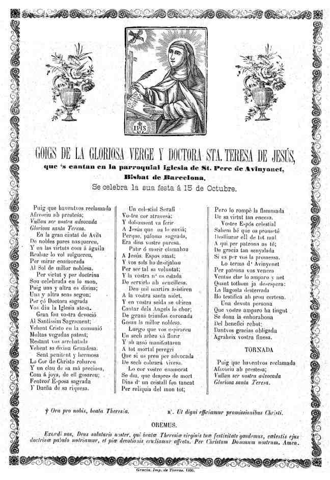 10 Teresa goigs 1890 Gràcia AdG
