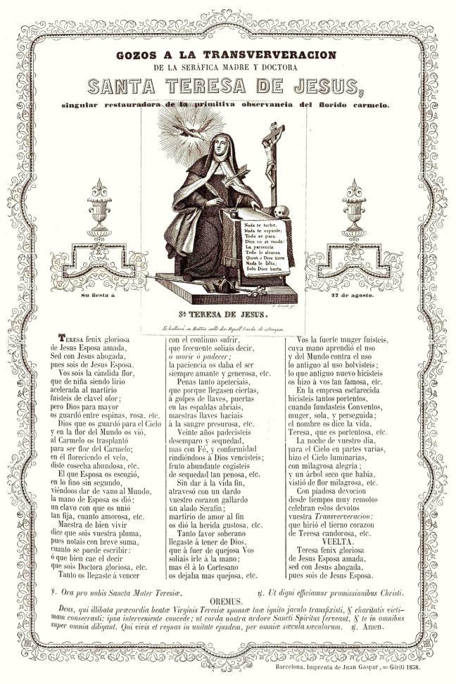 Teresa transver 1858 gozos