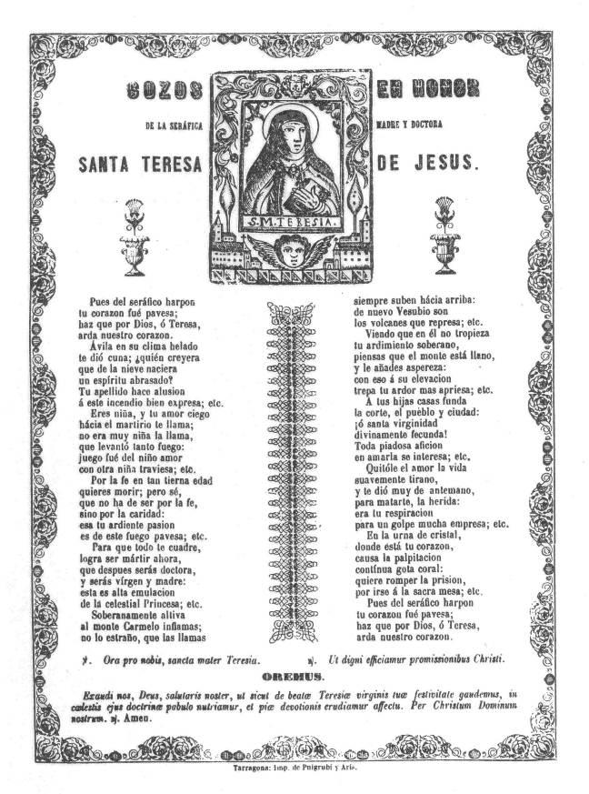 Teresa gozos 1863c Terragona