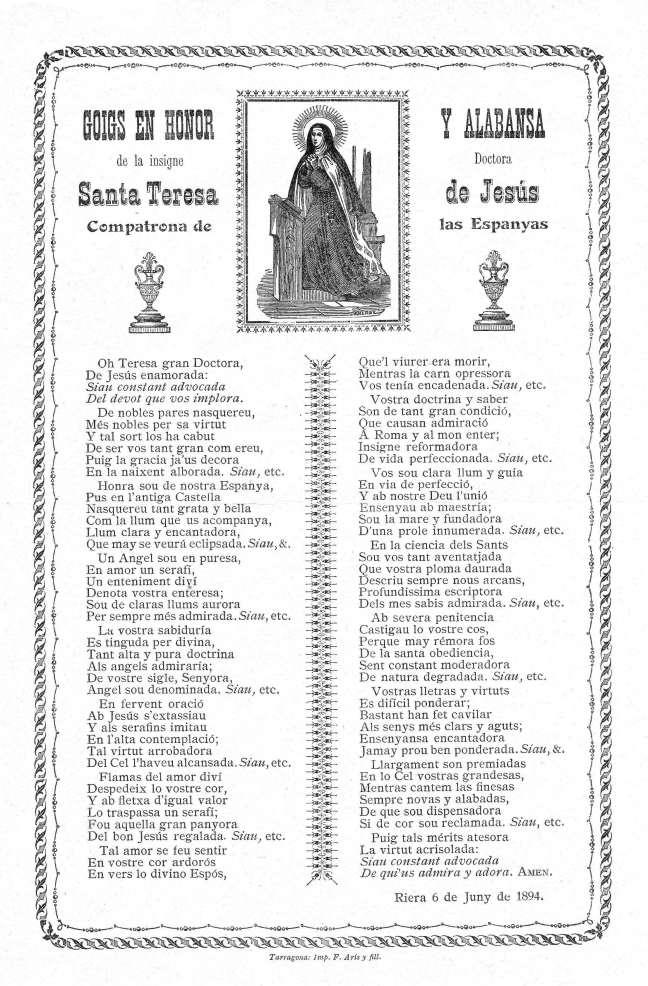 25 Teresa goigs 1894 Tarragona AdG+