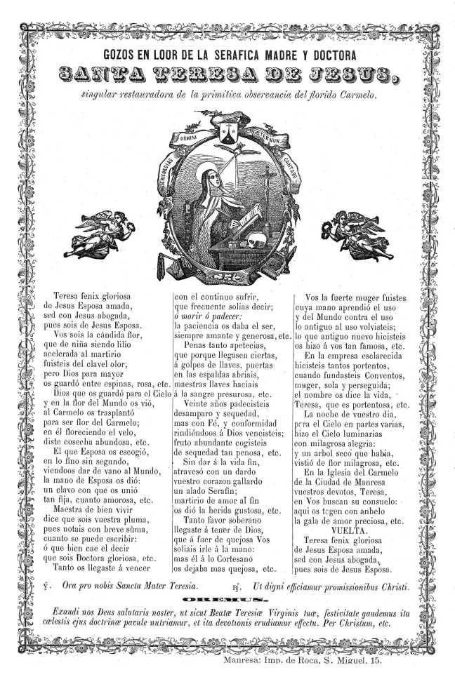 36 Teresa gozos 1824-99c Manresa Roca Dadun