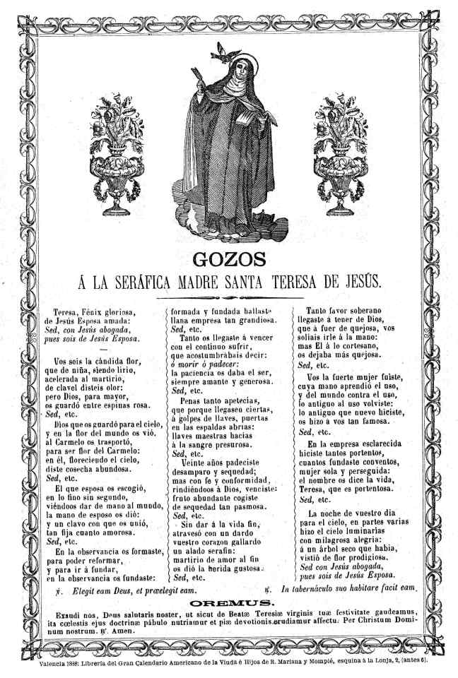 Teresa gozos 1888 Valencia