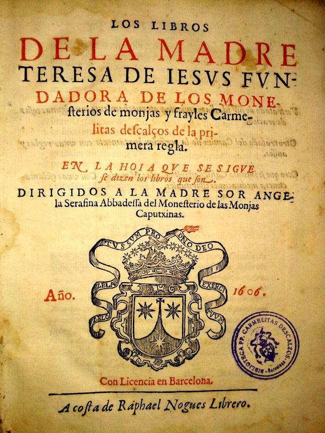 Obres Sta. Teresa. Nogués, 1606