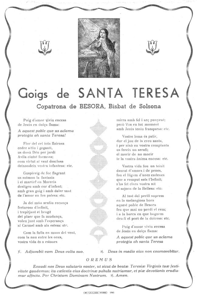 Teresa goigs 1961 Besora