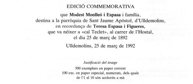 Teresa goigs 1992 Ulldemolins b